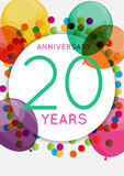 Template 20 Years Anniversary Congratulations, Greeting Card, Invitation Vector Illustration Stock Images