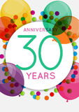Template 30 Years Anniversary Congratulations, Greeting Card, Invitation Vector Illustration Stock Image