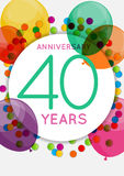 Template 40 Years Anniversary Congratulations, Greeting Card, Invitation Vector Illustration Royalty Free Stock Photos