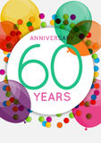Template 60 Years Anniversary Congratulations, Greeting Card, Invitation Vector Illustration royalty free illustration