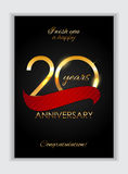 Template 20 Years Anniversary Congratulations Vector Illustration Royalty Free Stock Photography