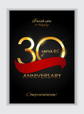 Template 30 Years Anniversary Congratulations Vector Illustration Stock Images