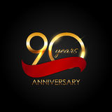 Template 90 Years Anniversary Vector Illustration. EPS10 Royalty Free Stock Images