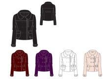Template of young girls peter pan collar winter jacket design Royalty Free Stock Photo