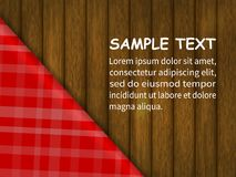 Template for your design. red checkered tablecloth on a wooden table, an example of the text. Realistic style. vector illustration Royalty Free Stock Image