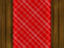 Template for your design. Red tablecloth is on a wooden table. Realistic style. Vector illustration Royalty Free Stock Images