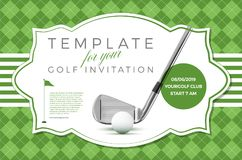 Template for your golf invitation with sample text. In separate layer- vector illustration royalty free illustration