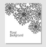 Template Zen-doodle flowers pattern  black on white Royalty Free Stock Photo