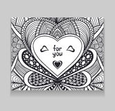 Template with Zen-doodle style pattern and heart frame black on white Stock Photo