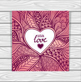Template with Zen-doodle style pattern and heart frame pink lilac Royalty Free Stock Image