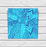 Template Zen-doodle or Zen-tangle texture or pattern with eye  in blue Royalty Free Stock Images