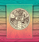 Template Zen-doodle or Zen-tangle texture or pattern with eye  full colors Royalty Free Stock Image