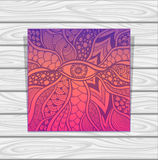 Template Zen-doodle or Zen-tangle texture or pattern with eye  in lilac orange pink Stock Image