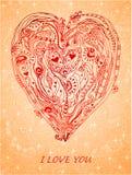 Templatedesign元素爱卡片的纸心脏 免版税图库摄影