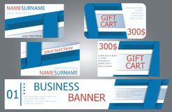 Templates banner design, gift cards, business cards. Set. Royalty Free Stock Photos