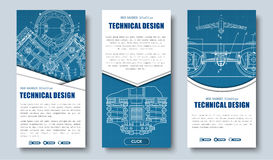 Templates banners blue and white colors of different shapes. Vertical Design Web banners with technical drawings. Templates blue and white colors of different vector illustration