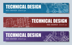 Templates banners  red, blue and purple with technical drawings. Stock Photography