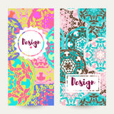 Templates banners set. Floral mandala pattern and ornaments. Stock Images