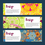 Templates banners set. Floral mandala pattern and ornaments. Stock Image