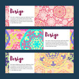 Templates banners set. Floral mandala pattern and ornaments. Stock Photography