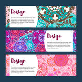 Templates banners set. Floral mandala pattern and ornaments. Royalty Free Stock Photography