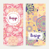 Templates banners set. Floral mandala pattern and ornaments. Royalty Free Stock Photo