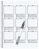 Templates based on the storyboard. Of the film script, spring connection sheets. Vector illustration Stock Image