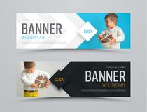 Templates of black and white vector horizontal web banners with arrows and a place for a photo. Minimalist design. Set. Blurred image for example Stock Images