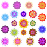 Templates of bright colored stylized flowers Stock Image