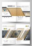 Templates for brochure, magazine, flyer, booklet. Cover design template, flat layout in A4 size. Golden technology Stock Images