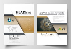 Templates for brochure, magazine, flyer, booklet. Cover design template, flat layout in A4 size. Golden technology Royalty Free Stock Images