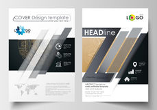 Templates for brochure, magazine, flyer, booklet. Cover design template, flat layout in A4 size. Golden technology Royalty Free Stock Photo
