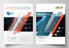 Templates for brochure, magazine, flyer, booklet or report. Cover template, easy editable blank, flat layout in A4 size Stock Photography