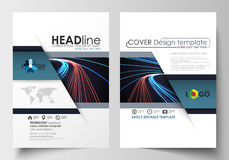 Templates for brochure, magazine, flyer, booklet or report. Cover template, easy editable blank, flat layout in A4 size Stock Images
