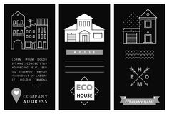 Templates business card with houses Royalty Free Stock Image