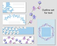 Templates for business cards and postcards with a contour floral pattern. Text frame with blue and pink flowers for corporate. Identity royalty free illustration