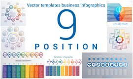 Templates business infographics 9 positions Royalty Free Stock Photos