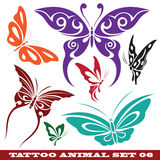 Templates butterfly for tattoo. Vector set: templates butterfly for tattoo and design on different topics Royalty Free Stock Image