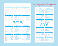 Templates for calendars, pocket calendars and business cards Stock Photos