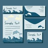 Templates of card and letter. Set of template of blank letter, cards and envelope. Used clipping mask Stock Illustration