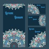 Templates of cards and booklet. Circle lace organic ornament Royalty Free Stock Photo