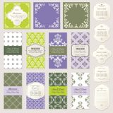 Templates, cards and frames set. Templates, cards, frames. Lavender and natural green colors. Can be used in different variations Stock Image