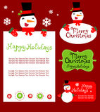 Templates for Christmas greeting card, gift tag, Royalty Free Stock Photo