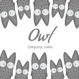 Templates for the company. The logo with the owl. Banner with cute cartoon birds. Template for text. Flyer, announcement Royalty Free Stock Image