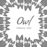 Templates for the company. The logo with the owl. Banner with cute cartoon birds. Template for text. Flyer, announcement Royalty Free Stock Images