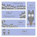 Templates for the company. The logo with the owl. Set of banners for website with cute cartoon birds. Template for text Royalty Free Stock Photo