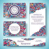 Templates of corporate Identity set with doodles abstract ornament. Vector illustration backgrounds concepts. Decorative Royalty Free Stock Images