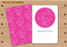 Templates with cute hand drawn ice cream Royalty Free Stock Images