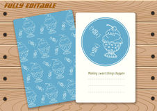 Templates with cute hand drawn ice cream stock illustration
