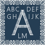Templates for cutting out letters. Full English alphabet.  May be used for laser cutting. Royalty Free Stock Image